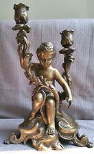 Antique CHERUB BRASS BRONZE CANDLESTICKS HOLDER Angel Candelabrum 2 Branch