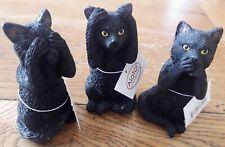 New Alator Giftware Three Wise Felines See, Hear, Speak No Evil 8.5cm, Black