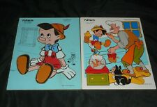 2 VINTAGE PLAYSKOOL DISNEY PINOCCHIO WOODEN PUZZLE 100% COMPLETE FIGARO GEPPETTO