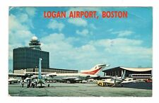 National Airplane Logan Airport Boston Massachusetts Vintage Postcard Sep17
