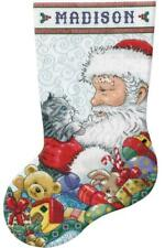 Design Works Santa & Kitten Christmas Holiday Cross Stitch Stocking Kit 5973