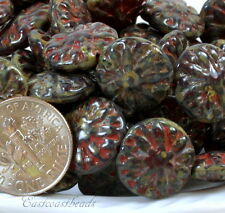 Dahlia Flower Coin Beads, 14mm, Gray Brown w/Picasso Finish, Czech, 5 Pieces