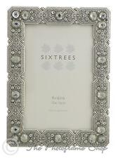 Sixtrees Maud Vintage Shabby Chic silver 6x4 inch photo frame beads and crystals