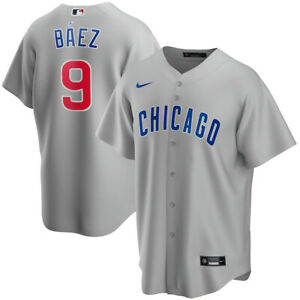 Brand New 2021 Chicago Cubs Javier Baez #9 Nike Road Replica Team Jersey NWT