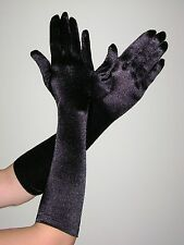 ELBOW Length Stretch SATIN Gloves BLACK