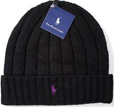 POLO Ralph Lauren wool beanie-NEW-$42-authenic black knit RRL hat-