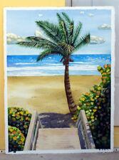Palm Tree, Beach, Ocean, Florida, Original Watercolor Painting, Signed, Art Deco