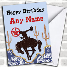 Rodeo Cowboy Western Birthday Customised Card