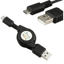 Retractable Micro USB A to USB B Male Data Sync Charging Cable for Cell Phone