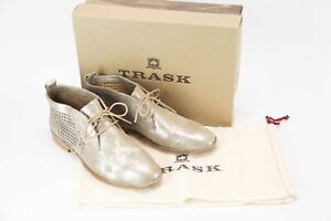 *NEW* in box $248 Trask Addy Metallic Perforated Leather Ankle Bootie size 10