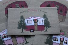 Christmas Vintage Caravan Happy Holiday Campers Handmade Envelopes Set 5