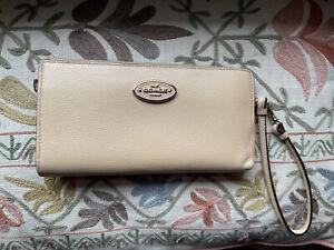 Coach 53413 Beige Refined Leather Zip Wallet Phone Cell Wristlet