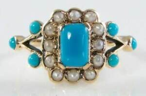 LUSH 9K 9CT GOLD PERSIAN TURQUOISE & PEARL ART DECO INS HALO RING FREE RESIZE