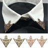 Women Spike Stud Triangle Blouse Shirts Collar Clip Neck Tip Brooch Pin Chain