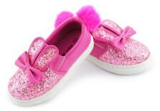 Size 8.5 UK GIRLS Glitter Pom FUR Pumps BUNNY Plimsolls SNEAKERS TRAINERS SHOES