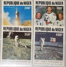 Níger 1989 1069-72 c378-81 20th 1st Ann Moon Landing alunizaje Space mnh