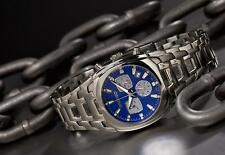 Breed Charles 0403 Swiss Made Men's Chronograph Dress Watch Blue Dial $700 NEW