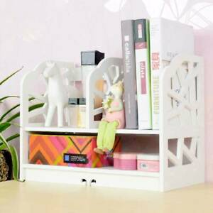 White Desktop Bookshelf Display Shelf Rack Office Desk Files Organizer Shelving