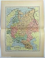 Original 1895 Map of European Russia by  W & A.K. Johnston. Antique