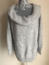 M&S Womens Jumper Size 24 Silver Grey Long Sleeved Cowl Neck 3/4 Sleeved