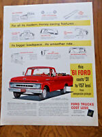 1961 Ford Pickup Styleside Truck Ad  Bigger Loadspace Smooth ride