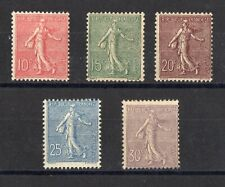 FRANCE: SERIE COMPLETE DE 5 TIMBRES TYPE SEMEUSE NEUF* N°129/133 Cote: 370€