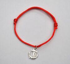 Pulsera hombre mujer roja con ancla plateada nueva amuleto suerte proteccion