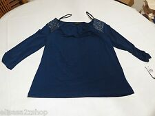 AGB let it shine navy glitter blouse shirt large L 012100444W83 NEW womens miss