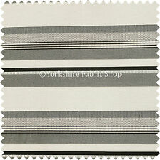New Black Grey Colour Wide Broad Striped Pattern Chenille Upholstery Fabric