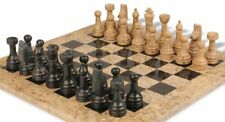 "wooden & Black Chess Set with 16"" Board"