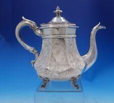 Gelston Treadwell Coin Silver Tea Pot Bright-Cut w/ Japanesque Motifs (#3929)