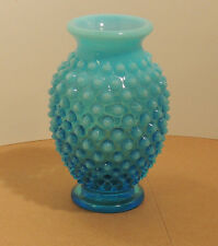 Fenton Blue opalescent Hobnail Vase over 3 inches tall (10841)