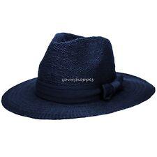 Blue Women Floppy Straw Hats Fedora Hat Summer Sun Beach Cap With Band Bow