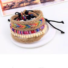 Friendship Boho Woven Hippy Handmade Cotton Embroidery Rope Hemp Bracelets