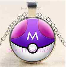 Pokemon Master Ball Cabochon Glass Dome Silver Chain Pendant Necklace
