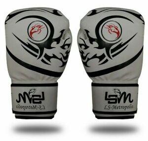 16oz Adult Black Tattoo Hybrid Boxing Gloves - WHITE