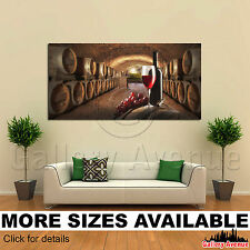 A Wall Art Canvas Picture Print - Wine Glasses Grapes Cask 02 2.1