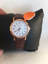 Bulova Women's 97L121 Rose Gold Brown Leather Strap Watch-H46
