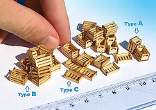 Miniature wood crates laser cut boxes HO O scale model diorama dollhouse On2