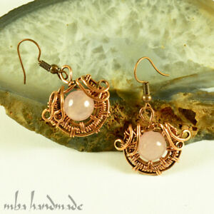 Natural Stone Rose Quartz Crystal Beads Copper Wire Wrap Handcrafted Earrings