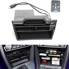 Carbon Fiber Style Center Control Storage Box + Dual USB For Honda Civic 2016-19