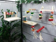 5 Item Playground Shelves & Wood Gnaws for parrots, dangling toys - Amazon,Grey