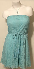 NWT JUNIOR'S SEQUIN HEARTS STRAPLESS AQUA LACE DRESS SIZE LARGE MSRP $50.00