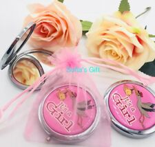 12-Baby Shower Party Favors Compact Mirror Recuerdos It'S A Girl Pink Free Bags
