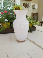 Vintage FTD Frosted Pale Pink Glass Bulbous Flower Vase  5X9