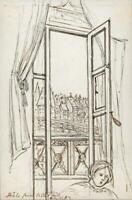 HANNAH SARAH TURNER BRIGHTWEN Tiny Ink Drawing BALE BASEL? SWITZERLAND 1862
