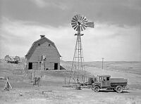 """Rustic Photo of an old West Farm, windmill, Antique truck, photo 20""""x16"""""""