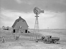 "Rustic Photo of an old Dakota Farm, 14x10"", windmill, Antique truck,  Americana"