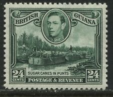 "British Guiana KGVI 1938 24 cents green ""BLOB ON CHIN"" Watermark upright mint"