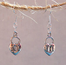 50 Shades of Grey Inspired Heart Lock Earrings by Slave Violet Jewelry
